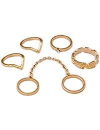 Anillos para dedo / Fashion Midi-Anillo / Múltiples anillos para apilar / Chapado en oro de DesiDo®