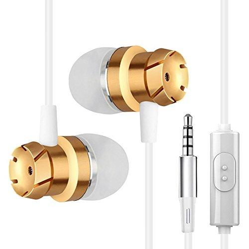 Xshuai Mobiltelefonzubehör 3,5 mm Metall In Ear Stereo Mikrofon Headset Super Bass Musik Ohrhörer (Gold) Stereo Helm Headset