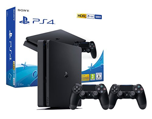 PS4 Slim Console Playstation 4 Noir + 2 Manettes Dualshock PS4 V2
