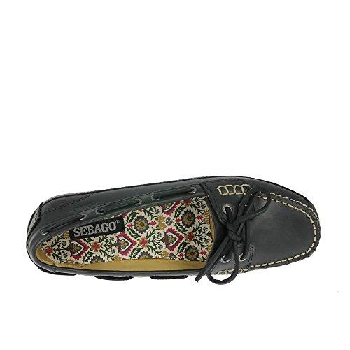 Sebago Cuir De Chaussures Bala Noir Noir