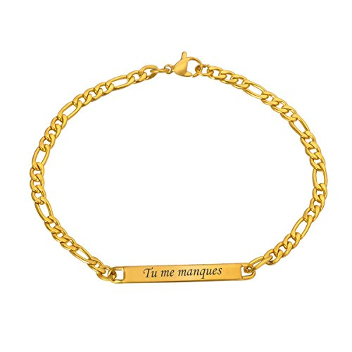 HOUSWEETY Bracelet Lien Poignet Chaine Maille Gourmette Poli - Plaque Service Gravure Personnalisee Offre or