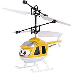 BOBORA Avión de Inducción con Juguete Helicoptero RC Juguete de Avión de Sistema de Control Dual Juguete Volador Niños (Amarillo)