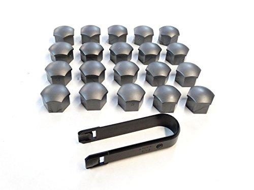 Audi - Lot de 20 capuchons pour boulons de roues - Pour clé de 17 - Gris - Avec 1 extracteur