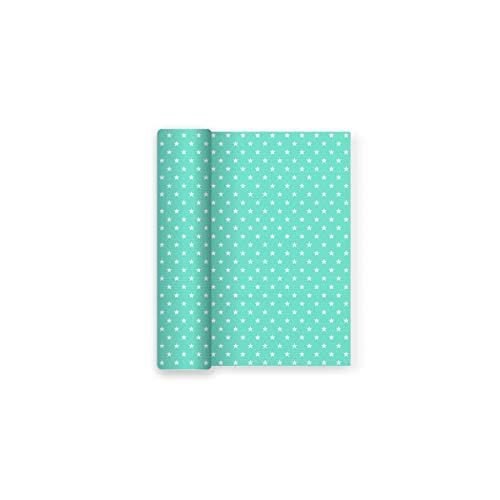 Papier-Tischdecke für Partei Dekor Sterne Aquamarin - 1,2 m x 5 m (Aquamarin Papier)