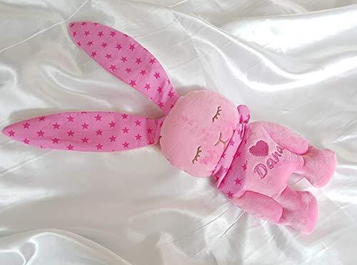 Stofftier Hase - mit NAMEN BESTICKT - Kuscheltier Baby Kinder Geschenk personalisiert mit Wunschnamen - Taufe (rosa, pink, sterne) (Personalisierte Stofftiere Für Babys)