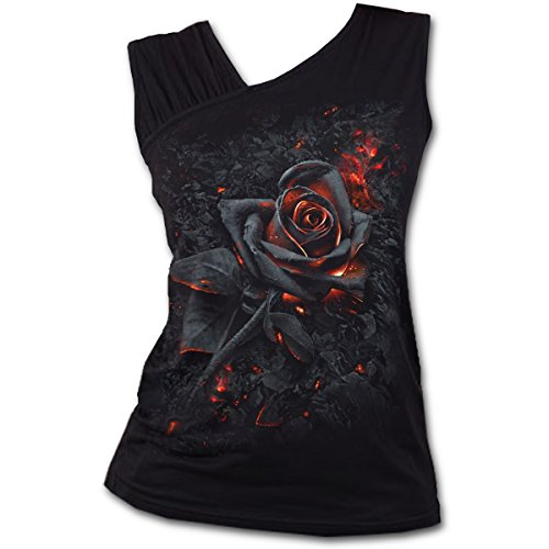 Spiral Direct Damen Burnt Rose - Gathered Shoulder Slant Vest Black Top, Schwarz 001, 50 (Herstellergröße: XX-Large)