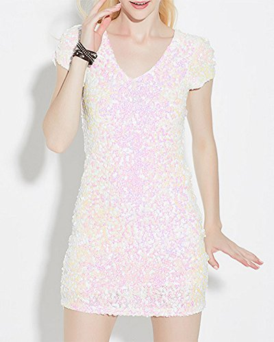 Femme Col V Paillette Sparkly Bodycon Sexy Moulante Courte Mini Robe Pink Blanc