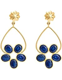 Gehna 18KT Yellow Gold and Blue Sapphire Drop Earrings for Women
