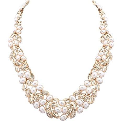 LINJIE JEWELRY 18 carats Métal de base plaqué or 18ct Ovale Perle d'imitation Kristall