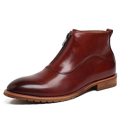AIURBAG Da uomo Scarpe Di pelle Autunno Inverno Stivaletti Quadrato Heel di blocco Cerniera Per Nero Marrone brown