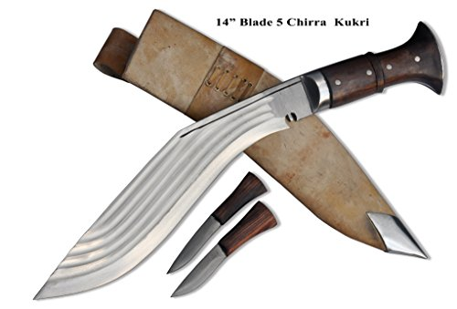 Echtes Gurkha Kukri Messer - 35.55 cm lange Klinge 5 Chirra (5 volleren) Buschmesser Messer - hochglanzpoliert, hochgradig benotet Kohlenstoffstahl,dunklen Rosenholz griff, durchgehendem Erl, weiße Lederscheide, Schwerlast Buschmesser, Gesamtlänge 52 cm mit griff. Handgefertigt durch GK&CO.Kukri Haus Fabrik im Nepal