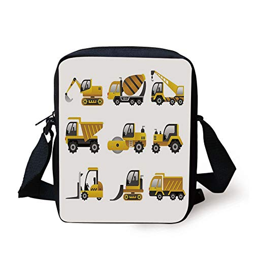 CBBBB Construction,Big Vehicles Icon Collection Engineering Building Theme Clip Art Style Decorative,Yellow Grey White Print Kids Crossbody Messenger Bag Purse White Belt Clip