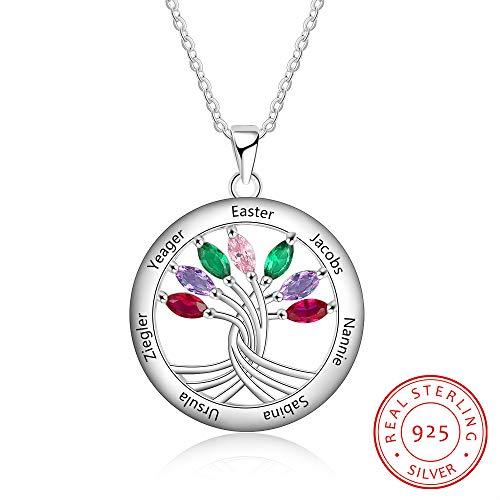 GYXYZB Personalisierte Stammbaum Anhänger Halskette Mit 7 Birthstones 925 Sterling Silber Gravieren Namen Halskette Für Die Familie