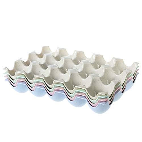 BESTONZON Caja de soporte para huevos de 15 tazas Bandeja de almacenamiento de refrigeradores Bandeja de almacenamiento de cajas de huevos a prueba de roturas (Color aleatorio)