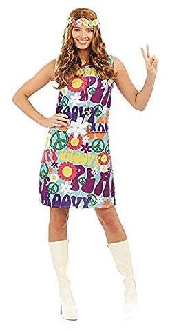 Groovy Hippie Ladies Fancy Dress 1970s 70s Peace Hippy Womens Adult Costume Nouveau (Moyen Royaume-Uni 12 -