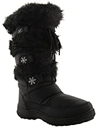 New Ladies Winter Fur Ski Moon Thermal Water Resistant Wellington Boots Size 3-8