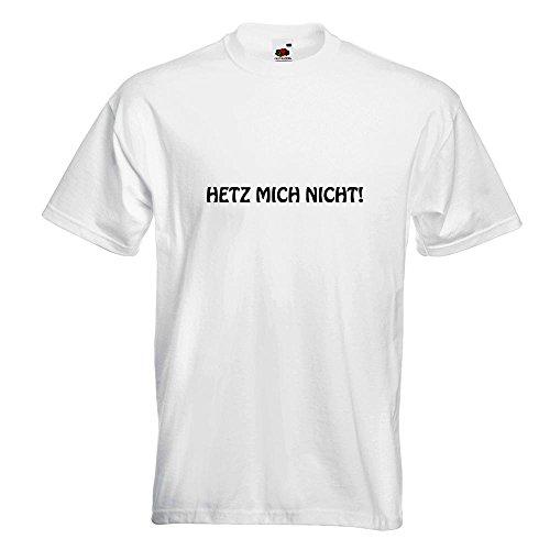 KIWISTAR - Hetz mich nicht! Motiv2 T-Shirt in 15 verschiedenen Farben - Herren Funshirt bedruckt Design Sprüche Spruch Motive Oberteil Baumwolle Print Größe S M L XL XXL Weiß