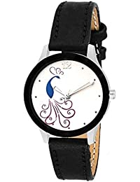 Swadesi Stuff Stylish Black Color Leather Strap Analog Luxury Fashion Watch For Women & Girls (Black Stylish Peacock...