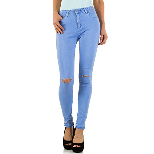 Ital-Design Destroyed High Waist Skinny Jeans Für Damen, Lila In Gr. Xl/42
