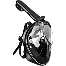 Máscara de Buceo de OMorc, 180 ° Máscara facial de snorkel con Vista Panorámica, Compatible con Gopro, Tecnología Anti – vaho y Anti – fugas, Evitar el reflejo de la Mordaza, Diseño de Snorkel para Adultos, Jóvenes, Niños-L