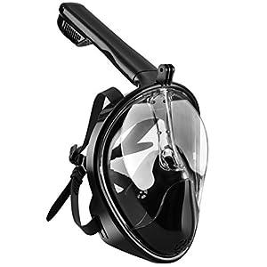 OMorc Masque de Plongée Schnorkel Plein Visage 180°visible Anti-Brouillard Anti-Fuite Snorkel Masque pour GoPro, Plein Visage Respiration Voir mieux que Les Masques Traditionnels (Noir, Grande Taille)
