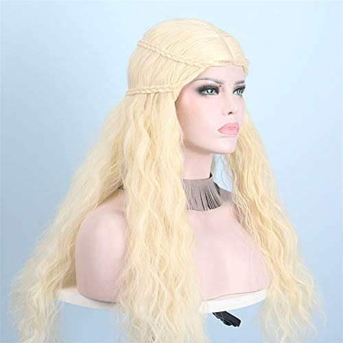 Prinzessin Zelda Machen Eine Kostüm Sie - DER Blonde Perücken for Frauen Nette gewellte lockige synthetische Perücke Haar Braid Gold verworrene Keine Lace Front Hallo (Color : #613, Stretched Length : 22inches)