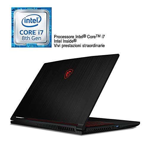Foto MSI GF63 8RC-215IT Notebook Gaming con Processore i7-8750H, Scheda Grafica Nvidia GTX 1050, 4 GB GDDR5, 128 GB SSD e 1 TB HDD, RAM DDR IV 16GB, Display da 15.6""
