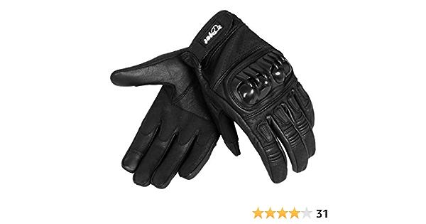 Jet Motorradhandschuhe Herren Sommer Leder Touchkompatible Fingerspitzen Handknöchelprotektor Belüftung Kobi Schwarz Xxl Auto