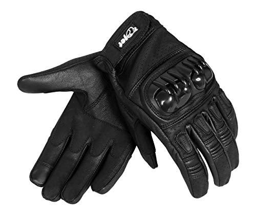 Jet Motorradhandschuhe Herren Sommer Leder Touchkompatible Fingerspitzen Handknöchelprotektor Belüftung KOBI (Schwarz, S)
