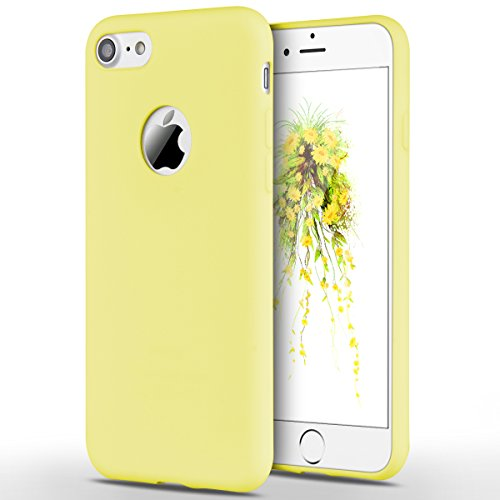 Funda iPhone 7, Yokata Silicona TPU Pluma Ultra Delgado Ligero Elegante Suave Mate Carcasa Trasera Fantasía Caprichoso Kawaii Adorable Diseño Flexible Case Bumper Resistente a los Arañazos Anti Choque Anti-deslizante Soft Protectora Cover - Candy Amarillo