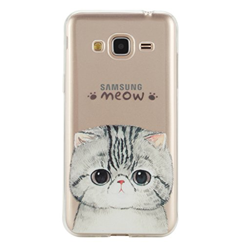 For Samsung Galaxy J3 2015 Case,Samsung Galaxy J3 2016 Case,Samsung Galaxy J310 Case [With Tempered Glass Screen Protector],idatog(TM) Soft Silicone Bumper Ultra Thin Slim Flexible Cover Case ,High Quality TPU with Colorful Cute Printed Pattern Fashion Design Protective Back Rubber Case Cover Shell Perfect Fitted For Samsung Galaxy J3 2015/J3 2016/J310 (Cute cat) Test