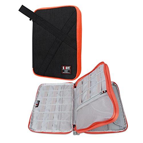 BUBM organizador de Gadgets, de viaje, doble capas, bolsa de accesorios electrónicos/cargador de batería, Funda para iPad Mini y tablet con asa negro L