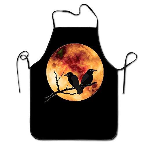 HTETRERW Raven Crow Bird Under The Full Moon Unisex Kitchen Bib Apron Flower Shop Chef with Adjustable Neck Chef's Apron