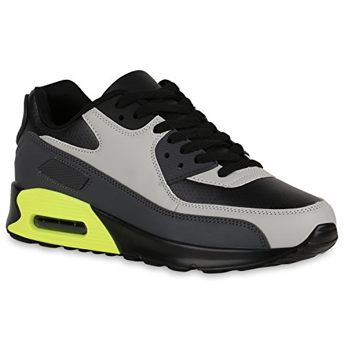 Herren Sportschuhe Laufschuhe Sneakers Runners Profilsohle Schwarz Hellgrau Neongrün