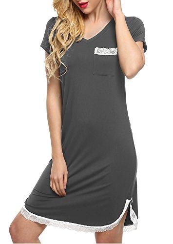 ADOME Damen Nachthemd Negligee Kleid Sleepshirt Casual Nachtkleid Nachtwäsche B-Grau