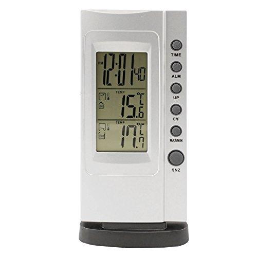 Digital Innen Thermometer mit MinMax Funktion . Innenthermometer mit Außenfühler , Uhr , Wecker