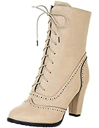 Julywe Damen High Heels Stiefeletten Absatz Ankle Boots Herbst Winter Abendstiefel Kurz Stiefel Wildleder schnüren Schuhe