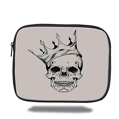 Tablet Bag for Ipad air 2/3/4/mini 9.7 inch,Skull,Mod Illustration of a Dead Skull King with His Crown in Vintage Style Power Art,Cream Black,Bag -
