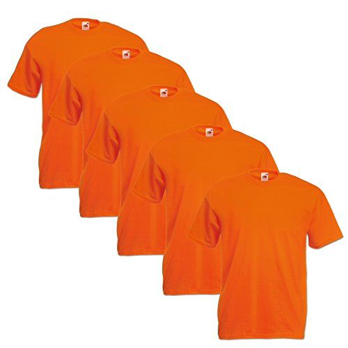 Fruit of the Loom Original  T Rundhals T-Shirt F140 5er Pack- Gr. XXL, Orange