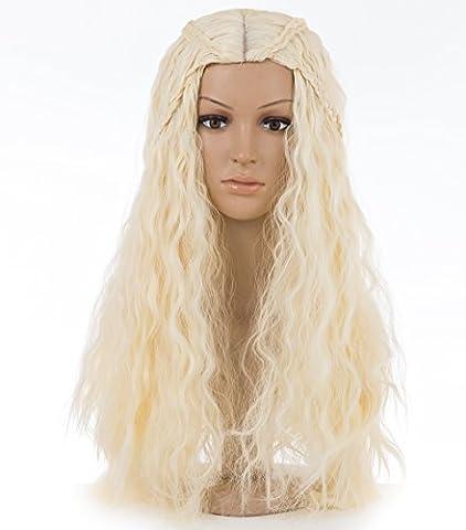 Spretty Femmes Costume synthétique Cosplay Perruque Long Cheveux bouclés et tressés en Beige Couleur