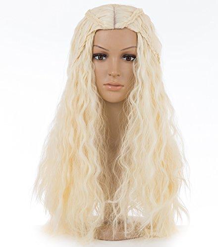 Spretty Perücke Lange charmante lockige flauschige geflochtene Kostüm-Perücke für Cosplay der Frauen in der beige (Kostüm Khaleesi Halloween)