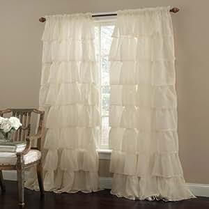 Tenda a pannello per finestra, lunga, arricciata, stile gitano-shabby chic, 160,02 cm