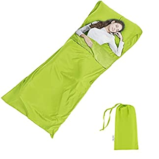 Silk Soft Sleeping Bag Liner - Lightweight Travel Sheet Camping Sleep Bag Prevent Dirty On Business Hotel 11