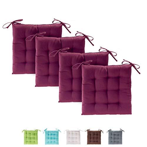 Etérea Basic Sitzkissen für Innen- und Außenbereich 40x40 cm Bordeaux 4er Set