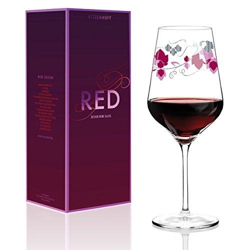RITZENHOFF Red Rotweinglas, Kristallglas, Weinrot, Rosa, Platin, 9.4 cm