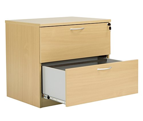 Office Hippo Fraction Plus Lateral Side Filer Desk High Filing Cabinet, Two Drawer 80 x 73 x 60 - Oak