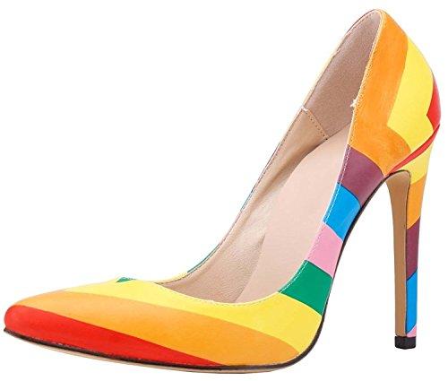 HooH Damen Regenbogen Spitz Zehe Stiletto High Heel Pumps Mehrfarbig 36 EU