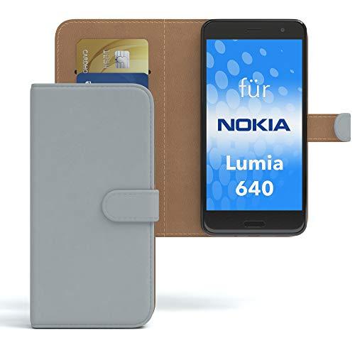 EAZY CASE Hülle für Nokia Lumia 640 Dual SIM Bookstyle mit Standfunktion, Book-Style Case aufklappbar, Schutzhülle, Flipcase, Flipstyle, Flipcover mit 2 Kartenfächern aus Kunstleder, Hellgrau