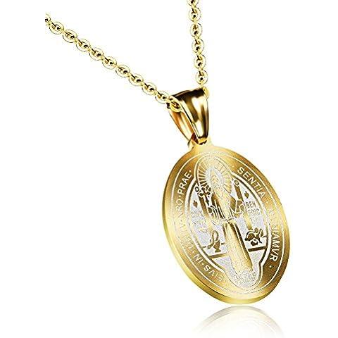 [] M.JVisun Sentia croce intagliata Retro-Ciondolo da uomo in acciaio INOX con catenina ad anelli, dorato, (18 45,72 cm
