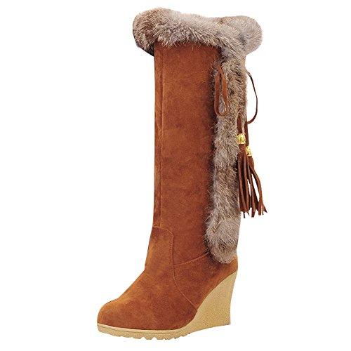Mee Shoes Damen Keilabsatz langschaft runde Stiefel Gelb